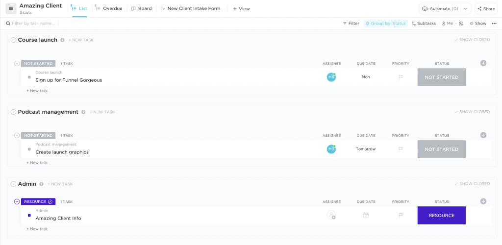 ClickUp for OBMS client folder